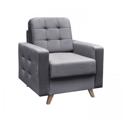 Szögletes fotel, steppelt, szürke - ALEX